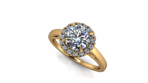 RBC halo eng ring all yellow filigree underrail all diamond plain shank