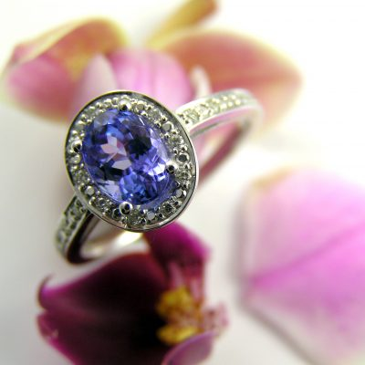 9ct White Gold Tanzanite and Diamond Halo Dress Ring