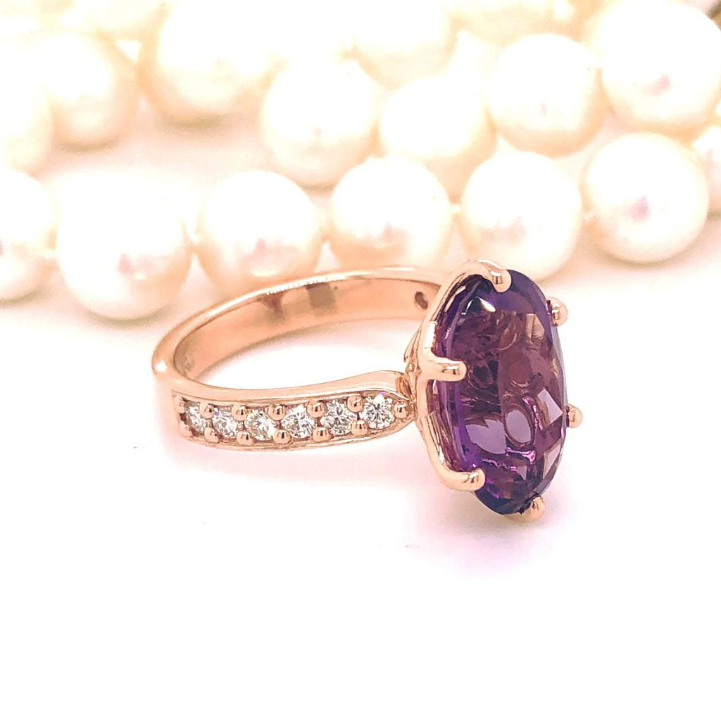 bespoke amethyst diamond ring - riversjewellers
